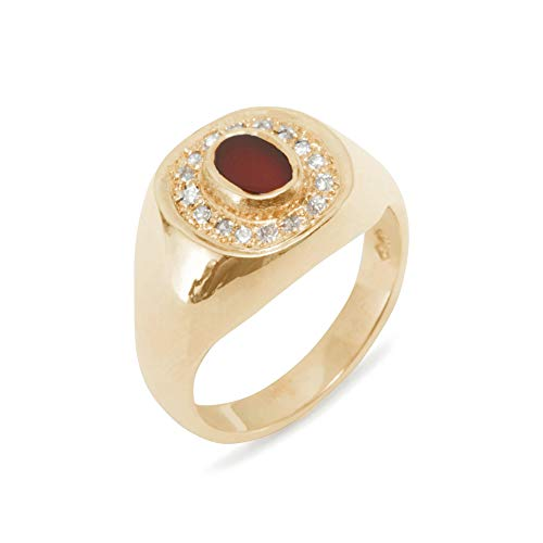 LetsBuyGold 14k Rose Gold Natural Carnelian & Diamond Mens Signet Ring - Size 6.25 - Sizes 6 to 12 Available (0.14 cttw, H-I Color, I2-I3 Clarity)