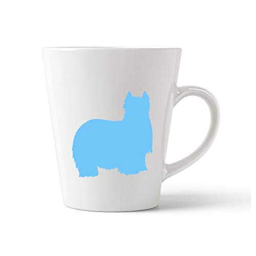 Style In Print Light Blue Yorkshire Terrier Silhouette Ceramic Latte Mug - 12 OZ