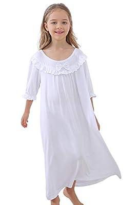 Little Girls Cute Princess Lace Bowknot Nightgown Dress (3-12years)