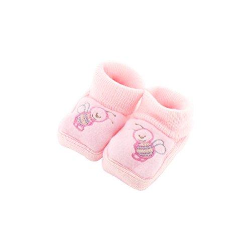zapatitos de bebé 0-3 meses Rosa - Adorno de la abeja