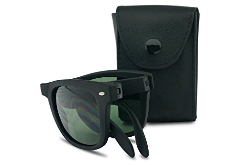 Black Folding Sunglasses Open Fold Old School Wayfarers Frame Free Black Case (Matte Black | Green - Glasses School Frames Men Old