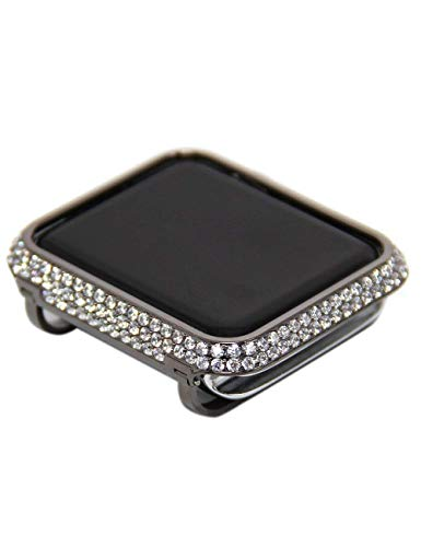 Edition Black Bezel - iRepair Metal Bling Diamond Bezel with Rhinestone Crystal Jewelry Case Compatible with Apple Watch Series 3 Series 2 Series 1 Sport,Nike+,Edition- Black Platinum Bezel with White Stones (42mm)