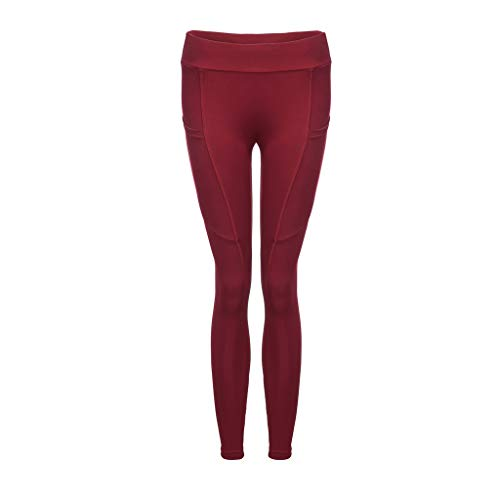 (Women's Color Block Fold Over Waist Yoga Pants Flare Leg Workout Leggings Red)