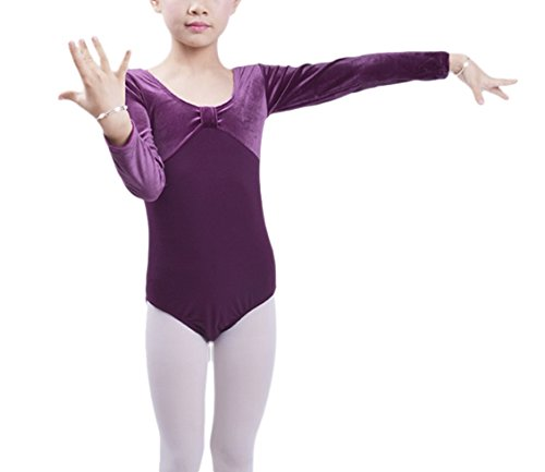 Happy Cherry Chirldren Girls Dance or Ballet Skirted Leotards Long Sleeve Purple XXXL
