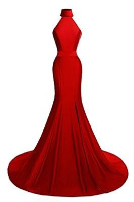 MsJune Women's Mermaid Prom Gowns High Neck Split Side Formal Evening Dresses