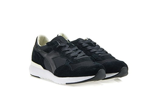Diadora Heritage Chaussures Homme Femme Trident Evo Sneakers En Tissu Technique Et Daim Noir