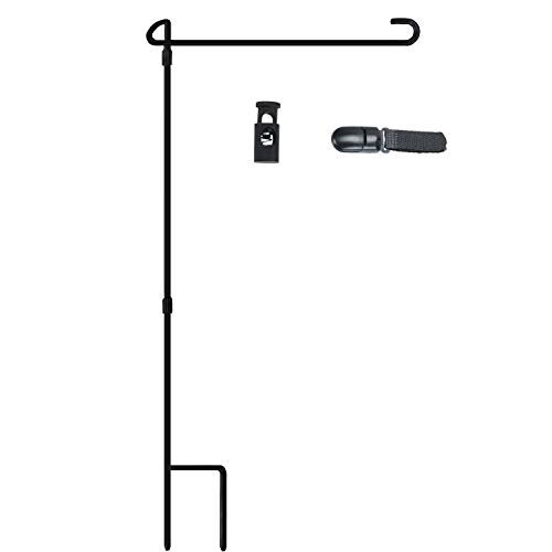 Nirohee Garden Flag Stand,Yard Iron Pole,Outdoor Pole Stand,Yard Stand for Flags,Yard Decor Pole with Anti-Wind Clip and Spring Stopper,Flag Pole Bulk Hold 13'' W Flag Without Flag