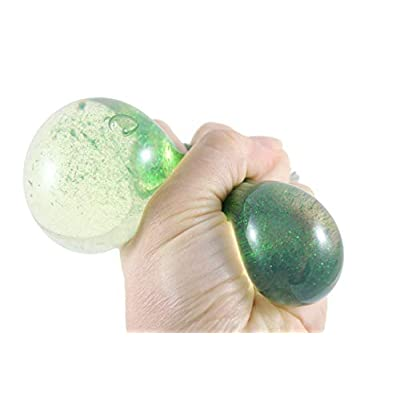 Curious Minds Busy Bags 2 Glitter Water-Filled Squeeze Stress Balls - Squishy Toy - Sensory Fidget (Random Colors): Toys & Games