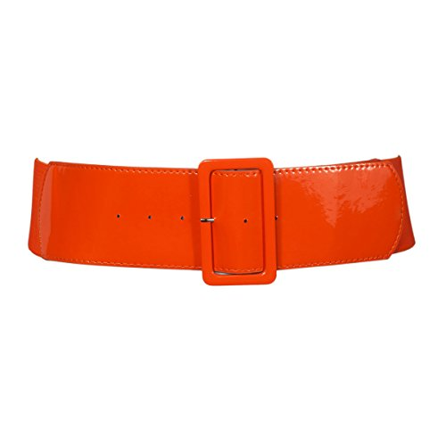 eVogues Women's Wide Patent Leather Fashion Belt Orange - One Size (Stretch Patent Buckle Belt)