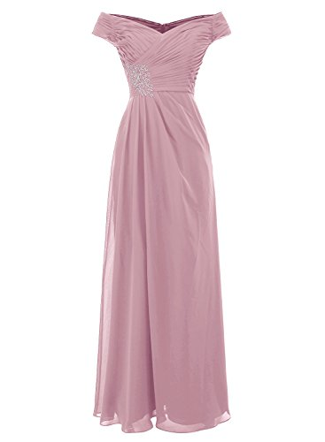ALAGIRLS Off The Shoulder Prom Dresses Long Chiffon Pleat Evening Party Gowns Blush US26Plus