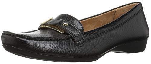 Naturalizer Women's Gisella Loafer Flat Black Lizard