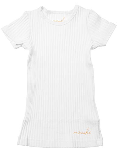 Silky Toes Little Girls Boys Kids Crewneck Cotton Ribbed Short Sleeve T-Shirt (4 Years, White) ()