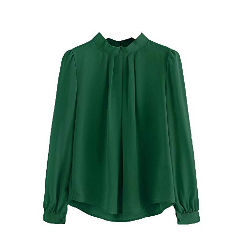 HGWXX7 Women Tops Lantern Long Sleeve Loose Chiffon Work Office T-Shirt Blouse(2XL,Green) (Works And Flag Stove)