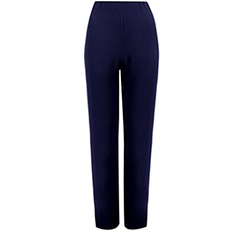 MyShoeStore® 2 Pack Ladies Womens Straight Leg Trousers Finely Soft Ribbed Stretch Pull ON Pants Office Nurse Carer Work Wear Casual Full Elasticated Waist Bottoms Plus Size 8-26: Amazon.es: Ropa y accesorios