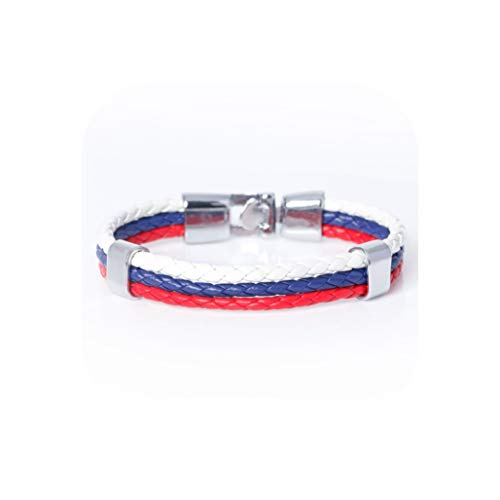 National Spain Flag ID Leather Bracelet Trendy Braided Bandage,Russia Flag,