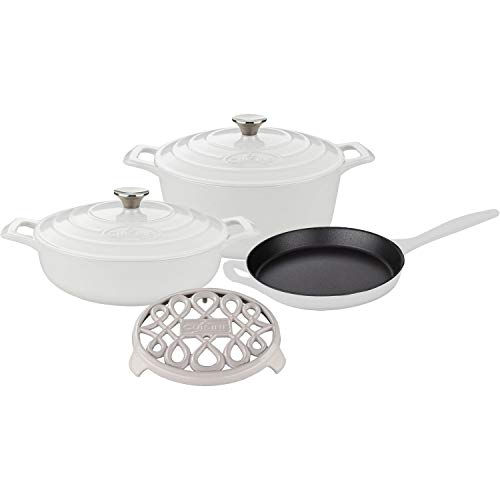 La Cuisine LC 2880 6 Piece Enameled Cast Iron Round Casserole/Trivet Cookware Set, White Review