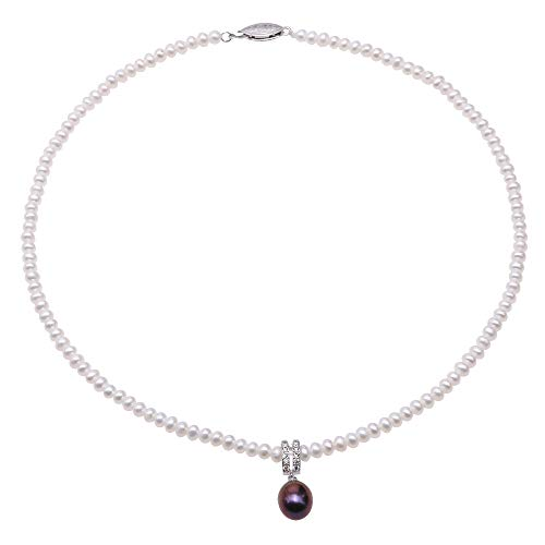 (JYX Pearl Choker Necklace 4-5mm Flat Round White Cultured Freshwater Pearls with 9×11mm Oval Purple Pearl Pendant Necklace for Women 16