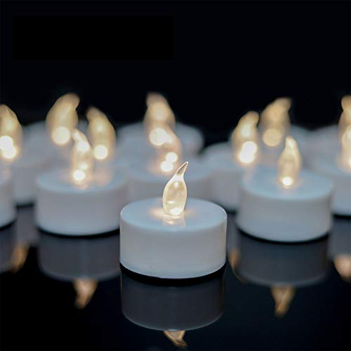 Tea Lights,LED Tea Light Candles 100 Hours Pack of Warm Yellow or Warm White Light 50pack Realistic Battery Operated Tea Lights for Halloween Seasonal &Festival Celebration Electric Fake Candle