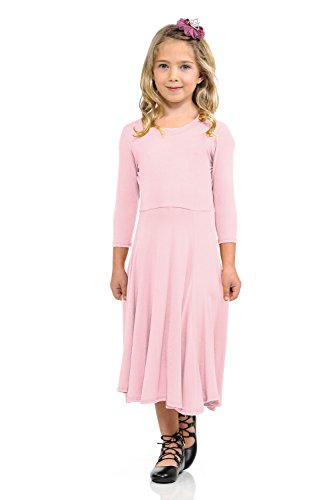 - Honey Vanilla Girls' Princess Seam A-Line Dress with Full Skirt Large 9-10 Years Dusty Pink