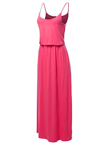 Solid Adjustable Strap Top Double Layer Maxi Dress Fuchsia M