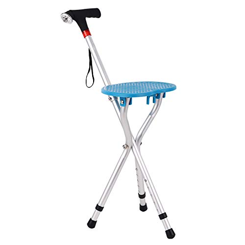 超激安 YGUOZ 杖椅子 杖 折りたたみ 杖椅子、ステッキ椅子とLED ライト、携帯型 ステッキ 5 杖 YGUOZ 高さ調節可能、障害のある人に適しています,blue blue B07P9JBKS3, ポンコタンオンライン:ec2034bc --- a0267596.xsph.ru