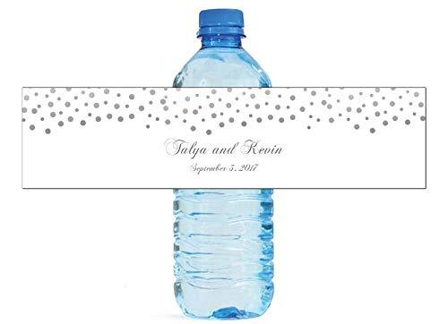 100 Silver Confetti Falling on White Background Wedding Anniversay Birthday Water Bottla Labels