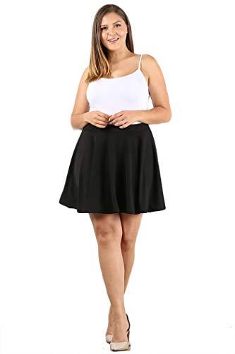 UUWB1034 Womens Plus Size Basic Versatile Stretchy Flared Skater Skirt 2X Black (Plus Size Skater Skirt)