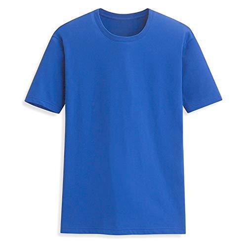Men's Summer 100% Cotton T-Shirt Men Casual Short Sleeve O-Neck T Shirt Comfortable Solid Color Tops Tees ()