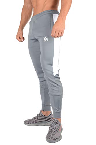 (YoungLA Athletic Track Pants for Men Joggers Slim Fit Workout Gym Lounge 215 Gray Large)