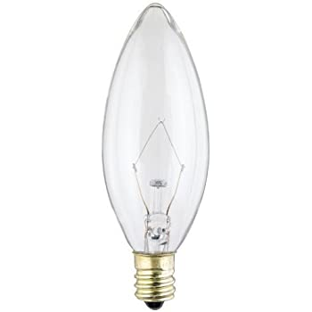 Westinghouse 4027 60-Watt, B10 Decorative Ceiling Fan Bulb, Candelabra Base, Clear, (6)