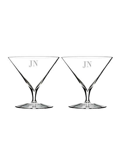 Waterford Elegance 11.2oz Martini Glasses Set of 2, Custom Glasses, Engraved Glass Set, Personalized Glassware -