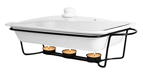 Le Regalo HW1244 3-Piece Bake and Server Food Warmer Set, 14.5x9.5x2.25, White