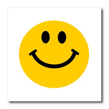 3dRose ht_76653_3 Yellow Smiley Face-Cute Traditional Happy Smilie-1960S Hippie Style-Iron on Heat Transfer for Material, 10 by 10-Inch, White (Fabric Face Smiley)
