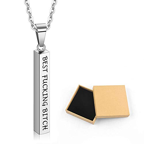 PAERAPAK Personalized Necklace - Engraved Name Necklace 3D Vertical Bar Necklace Dainty Stainless Steel Mens Necklace Bar Pendant Necklaces for Men Graduation Jewelry ()