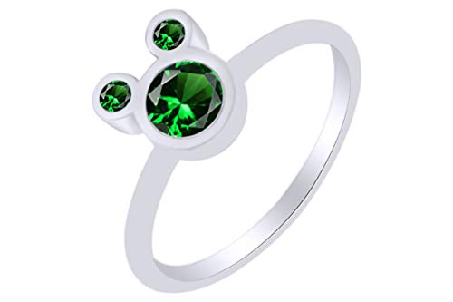 AFFY Round Shape Simulated Emerald Mickey Mouse Ring 14k White Gold Over Sterling Silver Ring Size 5.5