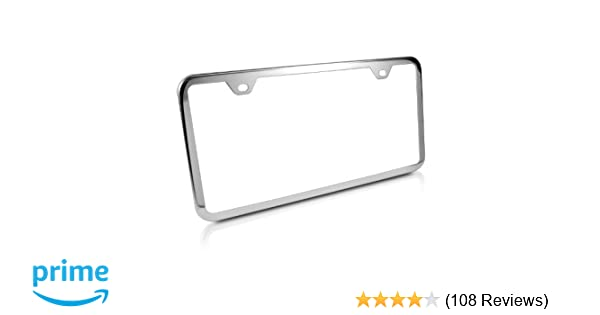 Ford Mustang Stainless Steel License Plate Frame Engraved Chrome Made in USA Frame Mirror Bright Chrome