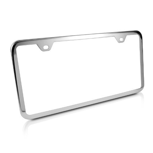 - CarBeyondStore Slim Chrome Steel License Plate Frame with 2 Holes Made in USA with