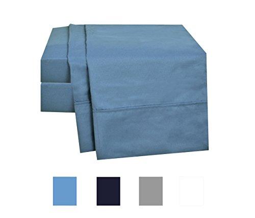 Microfiber Bed Sheet Set, Deep Pocket Blue Full Sheets - Brushed Microfiber Bedsheets, Super Soft 4-Piece Bedding Set, Wrinkle Free, Breathable Sheet Set, 4-inch Hem by DESIGN N WEAVES
