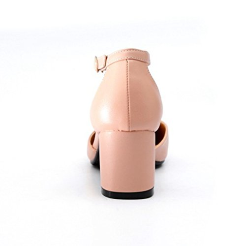 Femme Bout Carré Pink Casual Classics Mary Escarpins Fermé Janes Chaussures Xinwcang Talon Escarpin wgFqtZTnx