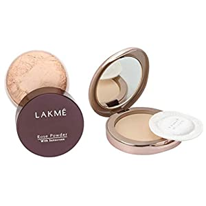 Lakme © Rose Face Powder, Soft Pink, 40g And 9 to 5 Flawless Matte Complexion Compact, Melon, 8g