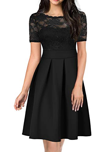 (Fit and Flare Lace Dress for Elegant Women Chic 30s A Line Wedding Party Ladies Bridesmaid Dresses Special Occasions with Sleeve 256 (XL, Black))