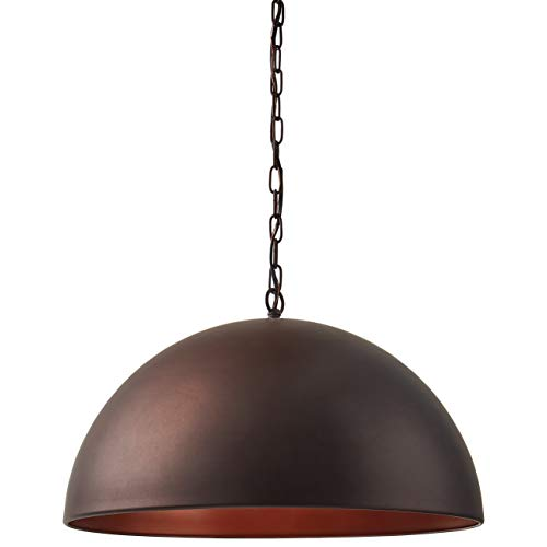 Stone & Beam Modern Dome Ceiling Mount Hanging Pendant Light Fixture With Vintage Bulb - 19.6 Inch Shade, 11.25 - 60 Inch Cord, Oil-Rubbed Bronze Dome Pendant Light Fixture
