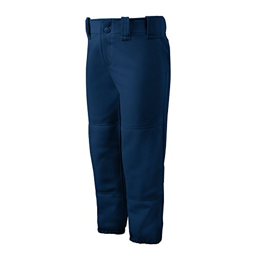 Mizuno Girls Youth Belted Low Rise Fastpitch Softball Pant, Navy, Youth ()