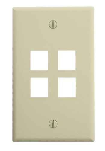 - Leviton 45080-4IP QuickPort Wallplate, Single Gang, 4-Port, Ivory, NAFTA Compliant
