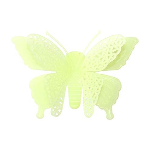 minous Butterflies Skin Wall Sticker Decorative Glow in the Dark Art (Yellow) ()