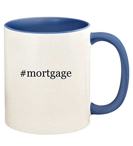 #mortgage - 11oz Hashtag Ceramic Colored Handle and Inside Coffee Mug Cup, Cambridge Blue