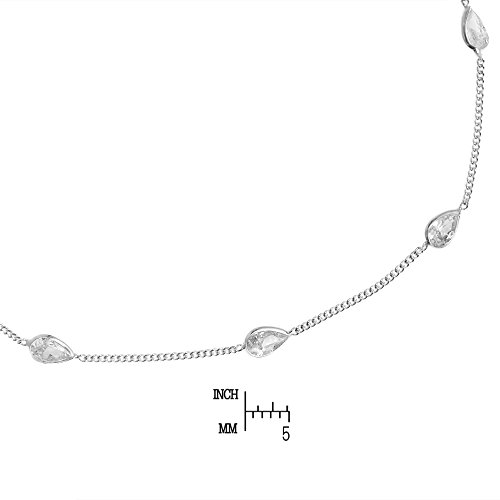 AeraVida Classy Teardrop White Cubic Zirconia .925 Sterling Silver Link Anklet