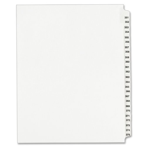 Avery Legal Dividers, Standard Collated Sets, Letter Size, Side Tabs, 351-375 Tab Set (01344)