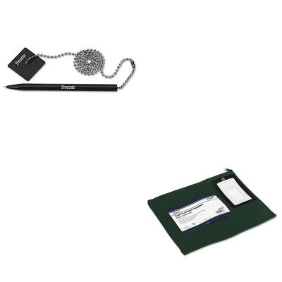 KITPMC04648PMC05057 - Value Kit - Pm Company Flat Dark Green Transit Sack (PMC04648) and Pm Company Preventa Standard Ballpoint Counter Pen (PMC05057)