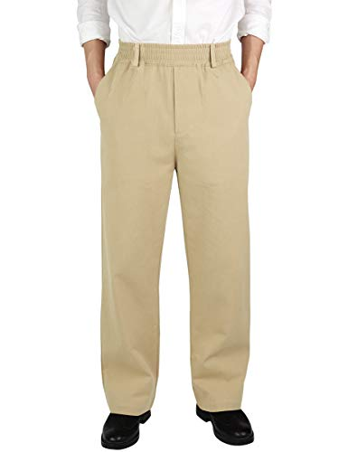 IDEALSANXUN Men's Casual Relaxed Fit Elastic Waist Twill Pant (Light Khaki(Twill), 32) (Best Mens Khaki Pants 2019)